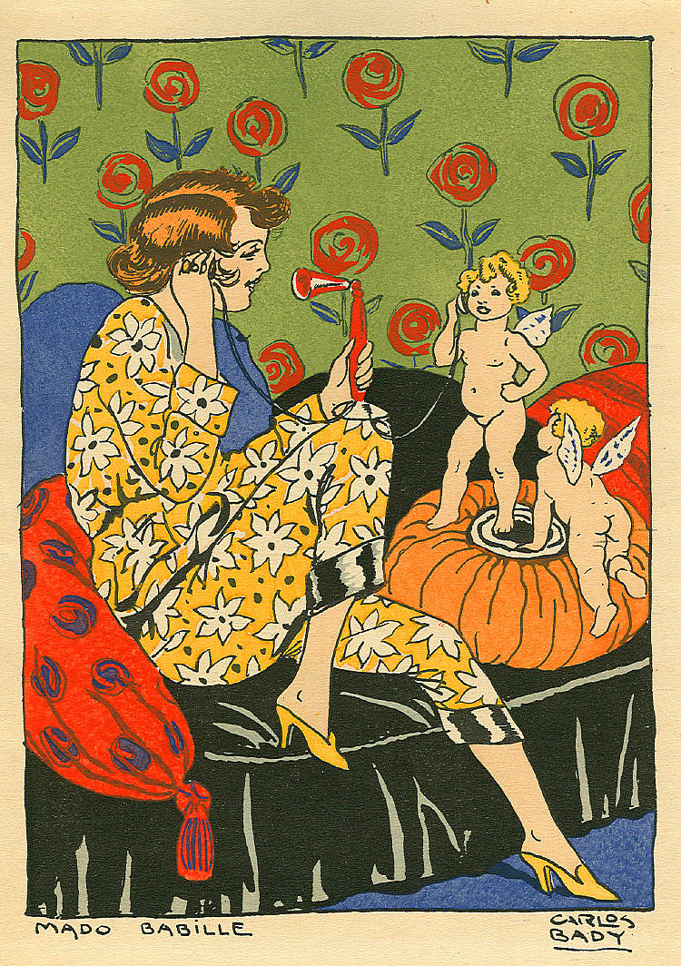 Four pages of vintage art deco illustrations ladies with cherubs