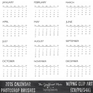 Free 2015 Calendar Photoshop Brushes