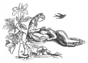 Vintage Illustration of Girls and Bird