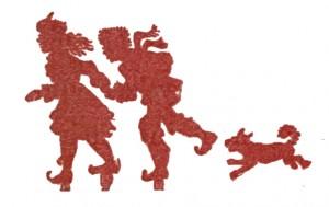 Vintage Clip Art - Children with Dog Silhouette