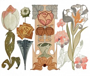Vintage Illustration Art Nouveau Flowers