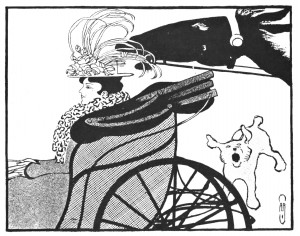 Vintage Art Nouveau Illustration - Lady on a Ride