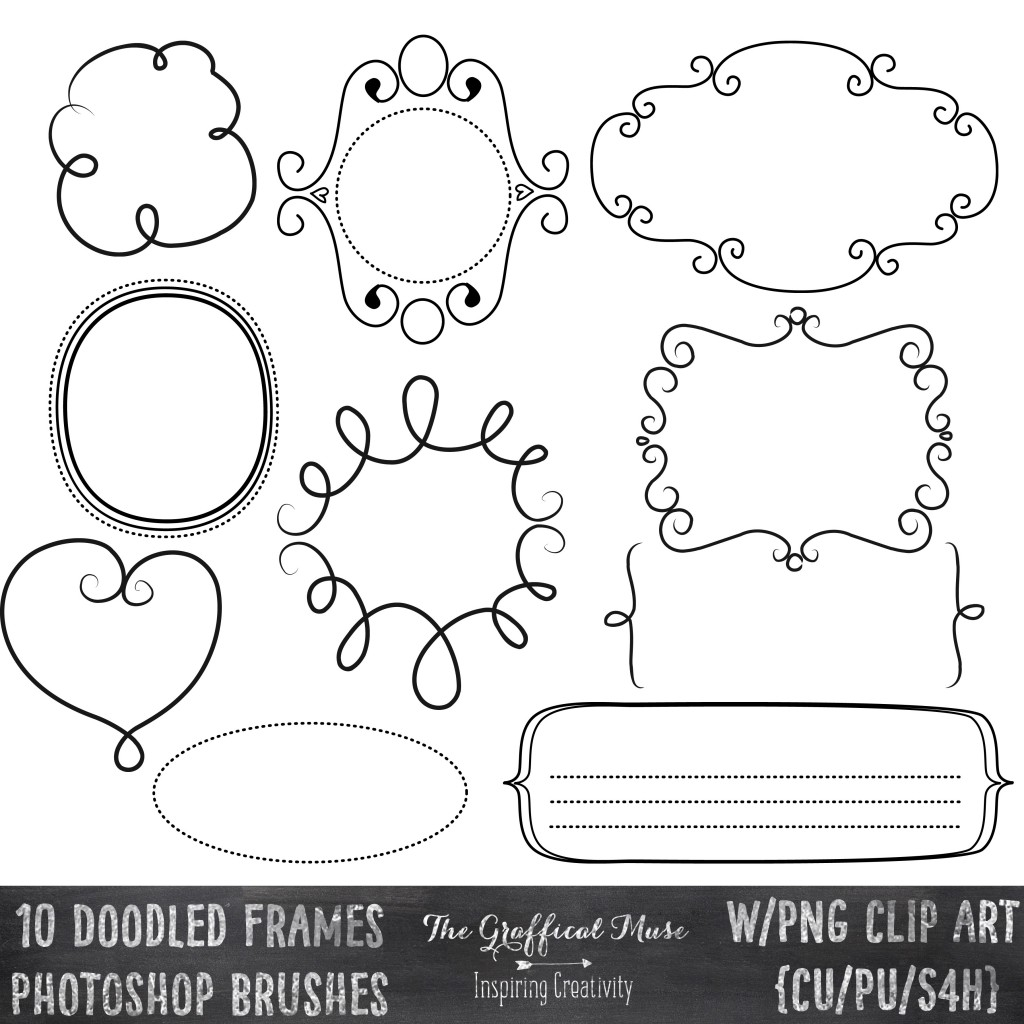 Free Photoshop Brushes PNG Clip Art Pack Doodled Frames