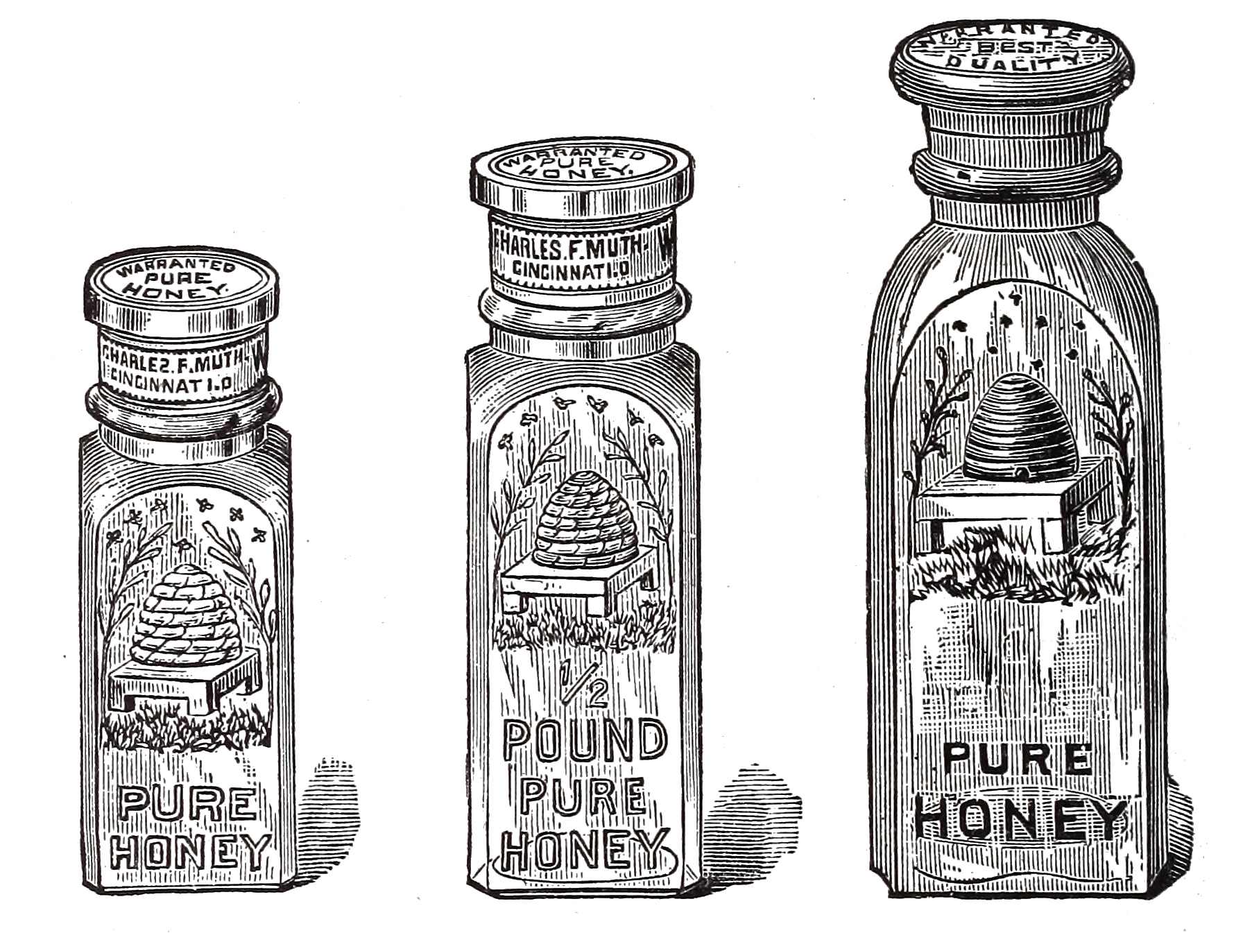 Antique Honey Jars Clip Art