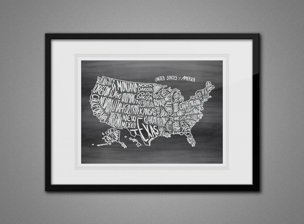 Free Printable Wall Art - Map of USA